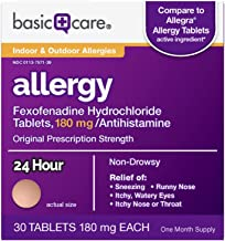 Basic Care Aller-Ease, Fexofenadine Hydrochloride Tablets, 180 mg, Antihistamine for Allergy Relief, Non-Drowsy, 30 Count