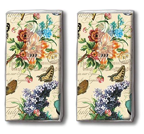 20 Taschentücher (2x 10) Vintage Summer– Sommerszene Vintage / Blumen / Schmetterlinge / Motivtaschentücher