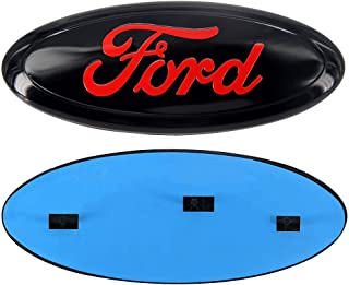 """9 Inch Front Grille Tailgate Emblem, Oval 9""""X3.5"""", Decal Badge Nameplate fit for 04-14 F150 F250 F350, 11-14 Edge, 11-16 Explorer, 06-11 Ranger (Red)"""