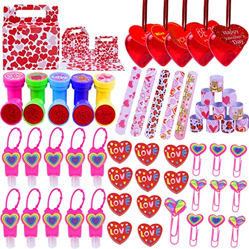 Alldriey Valentine Day Gift Party Favors for Kids, 80pcs Erasers Stamps Valentines Cards Filled Hearts Goodie Bags Bottles for Girls Boys Children Classroom School Exchange Game Prizes Carnival Rewards Supplies Serve 10 Guests