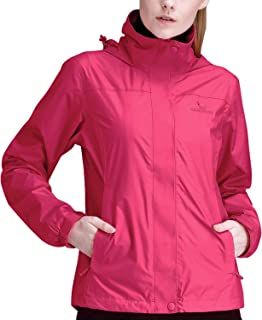 CAMEL CROWN Womens Rain Jacket Waterproof Coat with Hideaway Hood