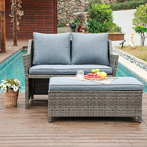 OC Orange-Casual 2-Piece Outdoor Patio Furniture Wicker Love-seat and Coffee Table Set, with Built-in Storage Bin, Grey Rattan, Grey Cushions