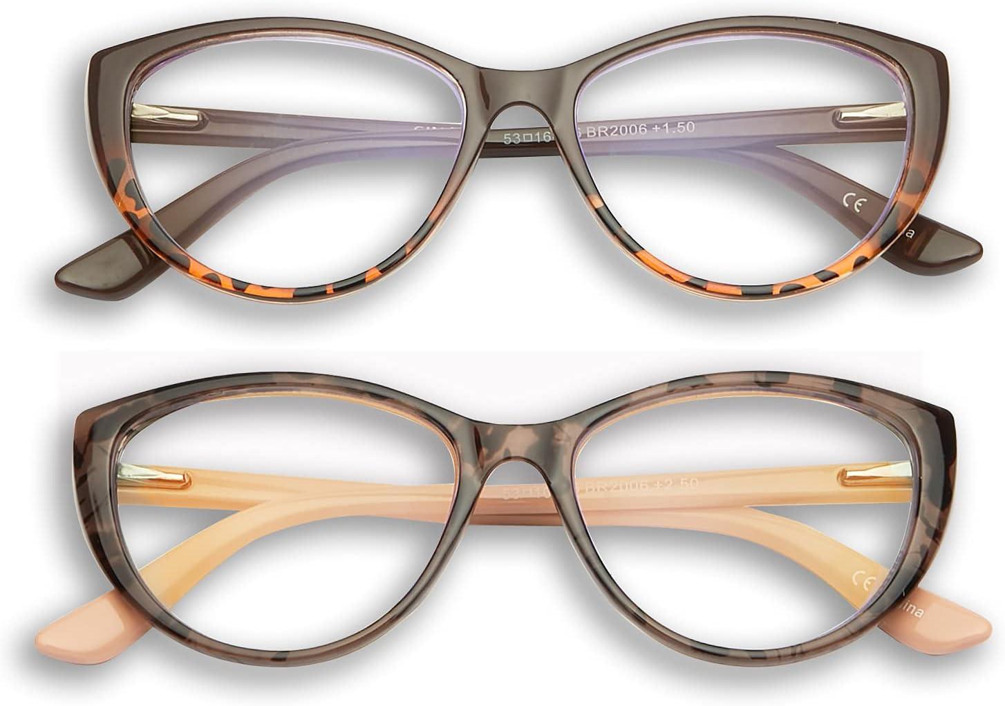 Cat Eye Reading Glasses for Women,GINGEREYE 200 Pack Fashion Ladies Blue  Light Reader +200.20,Anti Glare Eyeglasses W/Spring Hinge