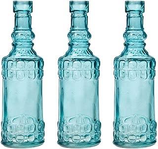 Luna Bazaar Small Vintage Glass Bottle Set (6.5-Inch, Turquoise Blue, Calista Cylinder Design, Set of 3) - Flower Bud Vase for Home Décor and Wedding Centerpieces