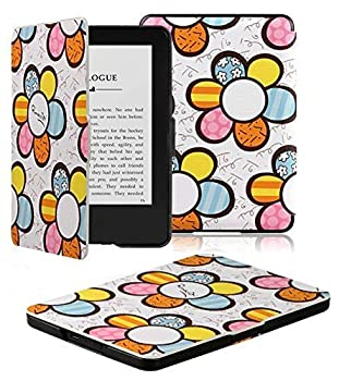 Kindle Case - OMOTON Smart Case Cover for All-new Kindle  7th Gen New Touchscreen Display 2014 Released  with Auto Sleep/ Wake Feature  Flower