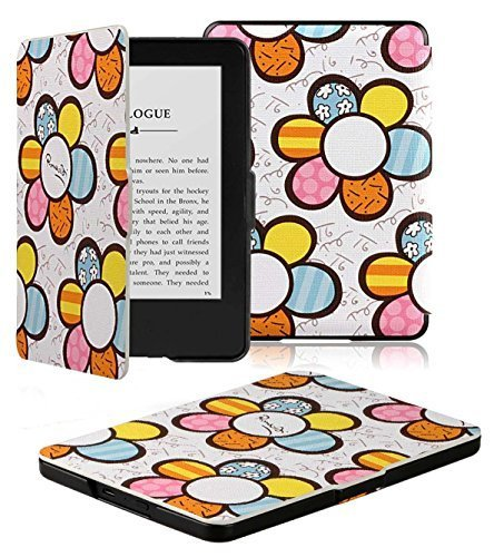 Kindle Case - OMOTON Smart Case Cover for All-new Kindle (7th Gen, New Touchscreen Display, 2014 Released), with Auto Sleep/ Wake Feature), Flower