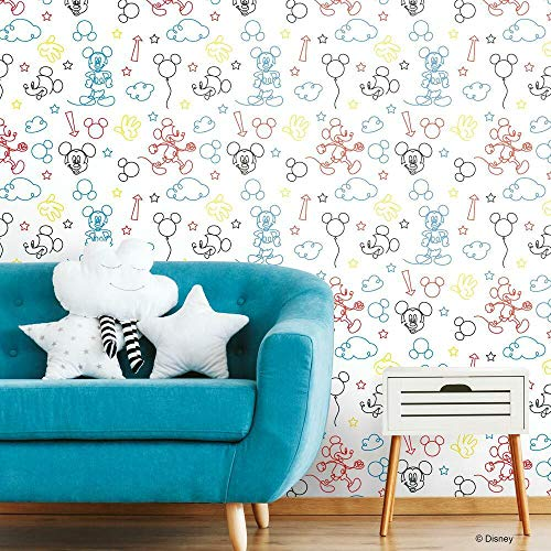 RoomMates Disney Mickey Mouse Line Art Peel and Stick Wallpaper, Red/Yellow