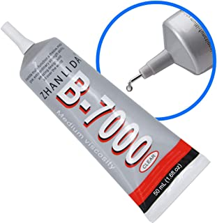 MMOBIEL B-7000 50ML Pegamento/adhesivo industrial multifuncional de alto desempeño semi fluido y transparente. Contiene 50 ml 1,68 fl.oz Incl. Puntas de precision para un trabajo limpio.