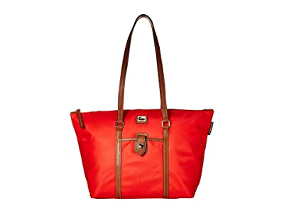 Dooney & Bourke Camden Large Zip Tote (Red/Dark Chocolate Trim) Tote Handbags
