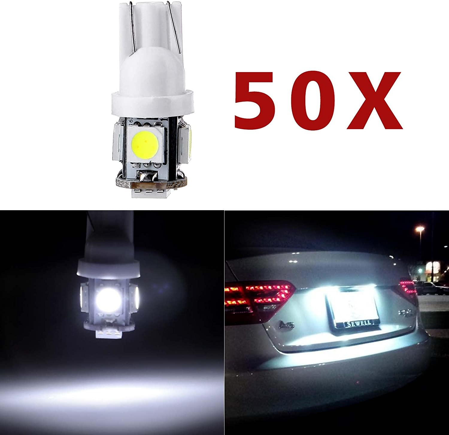 License NEW before selling Plate Light cciyu Super White Wedge LED W5W T10 168 194 4 years warranty