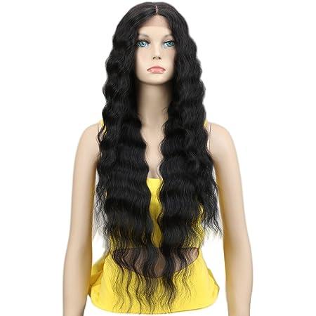"Joedir Lace Front Wigs 30'' Long Wavy Synthetic Wig 4.5"" Deep Part HD Transparent Lace For Women 130% Density Wigs(BLACK COLOR)"