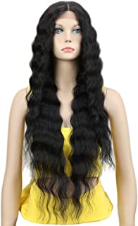 Joedir Lace Front Wigs 30'' Long Wavy Synthetic Wigs For Black Women 130% Density Wigs(BLACK COLOR)