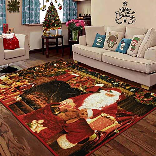 LOCHAS Premium Christmas Rug Santa Claus Area Rugs, Non Slip Christmas Door Mat Welcome Carpet for Bedroom Living Room Home Xmas Holiday Decor, 3x5 Feet