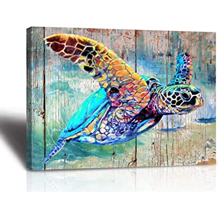 Whale Wall Art Abstract Fish Life Canvas Picture for Bathroom Bedroom Living Room Wall Decor Green Watercolor Painting Prints Modern Canvas Artwork for Home Decoration Framed Ready to Hang 12 x 16