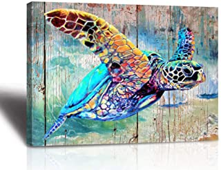 Sea Turtle Bathroom Wall Decor Canvas Prints Life Teal Watercolor Painting Beach Theme..