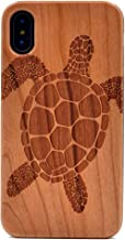 iPhone X Case Sea Turtle Pattern Wood Case Handmade Carving Real Wooden Case Cover with Rubber Case Back for Apple iPhone X (2017),iPhone Xs(2018)