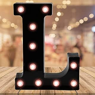 Oycbuzo Light up Letters LED Letter Black Alphabet Letter Night Lights for Home Bar Festival Birthday Party Wedding Decorative (Black Letter L)