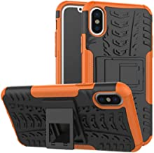 Deals Crystal Grain Mobile Case Leather Back Tempered - Shockproof, Dirt Protection & Anti-Slip Phone Case - Luxury Protective Hard Cover - Perfect for iPhone Xs Orange