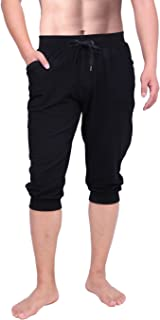HDE Mens 3/4 Workout Joggers Yoga Capri Pants with Pockets for Running Training