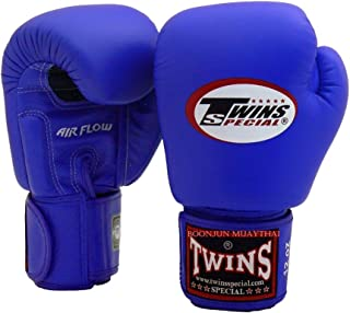 Twins Special Muay Thai Boxing Gloves BGVLA 2 Air Flow Gloves. Univesal Gloves for Training or Sparring. (Blue, 16 oz)
