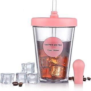 ZDZDZストロータンブラー 2層構造 ストローカバー付き 漏れない 2色 おしゃれ コーヒー ジュース 320ML (ピンク~小)