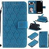 pinlu® Funda para Xiaomi Redmi 4A Smartphone Plegado Flip Billetera Carcasa Retro PU Leather Cover Función de Soporte con Ranura Case Rayas de Ratán Azul