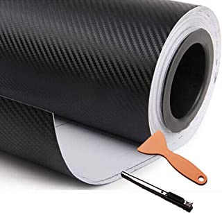 DIYAH 3D Black Carbon Fiber Film Twill Weave Vinyl Sheet Roll Wrap DIY Decals with Knife and Hand Tool (12