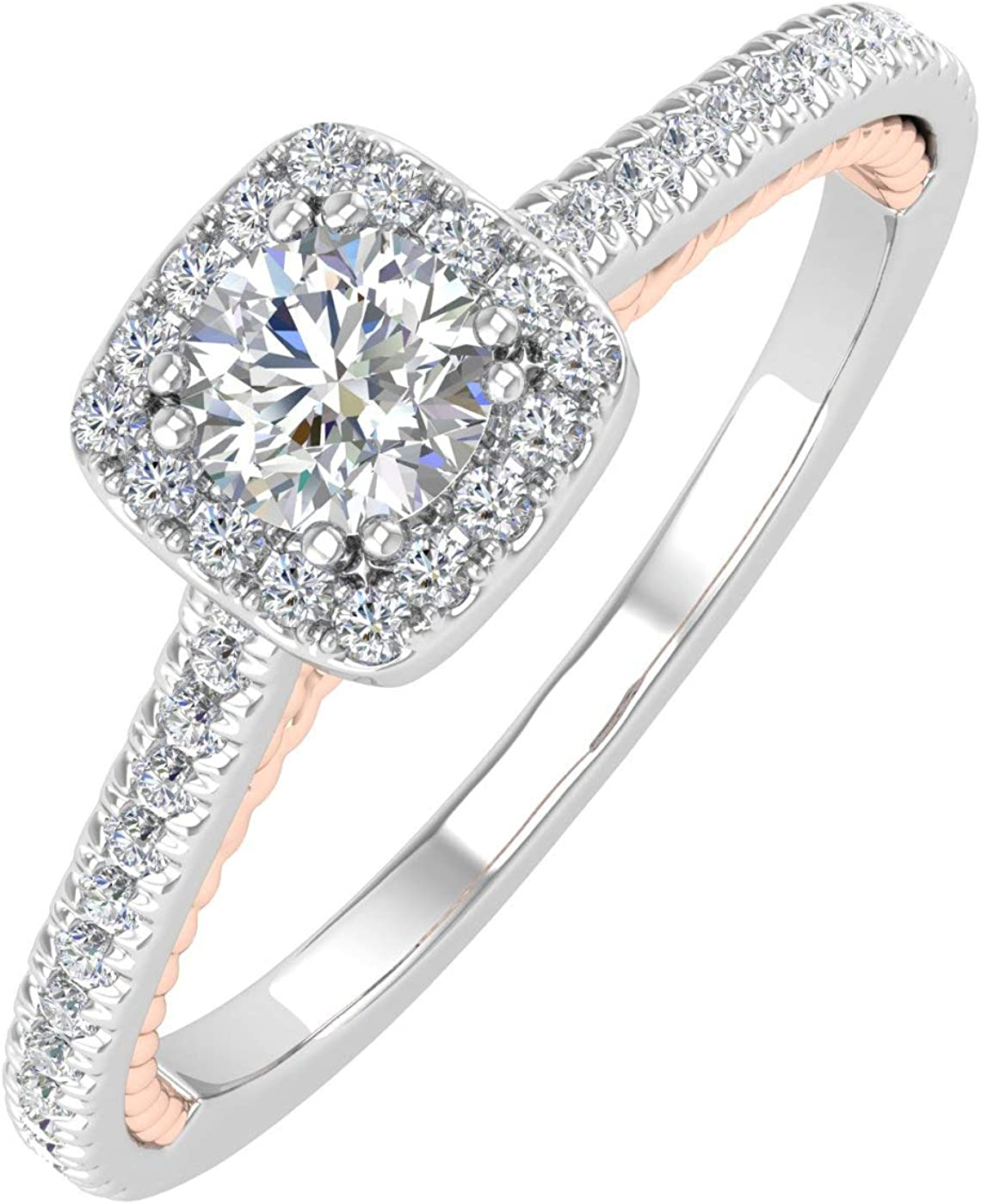 1/2 Carat Diamond Cushion Shape Halo Engagement Ring in 10K Gold - IGI Certified