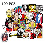 Kilmila One Punch Man Stickers[100PCS] for Laptop Water Bottle Bumper Motorcycle Skateboard,(with Saitama Fighting PVC Keychain)