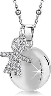 MAMIJUX Chiama angeli con ciondolo a forma di bimbo con cristalli e catenina in acciaio con bead lunga 110cm