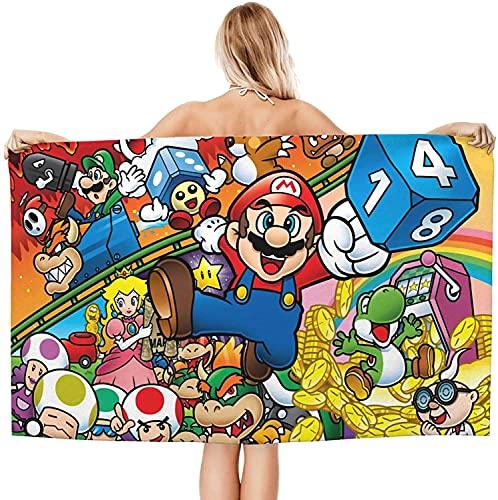 Super Mario Bros - Toalla de playa para niños, absorbente, sin arena, para playa y piscina (2,80 x 130 cm)