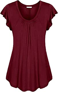 WSPLYSPJY Women's Short Ruffle Sleeve V-Neck Pleated Slim Fitted Tunic Blouse T Shirt