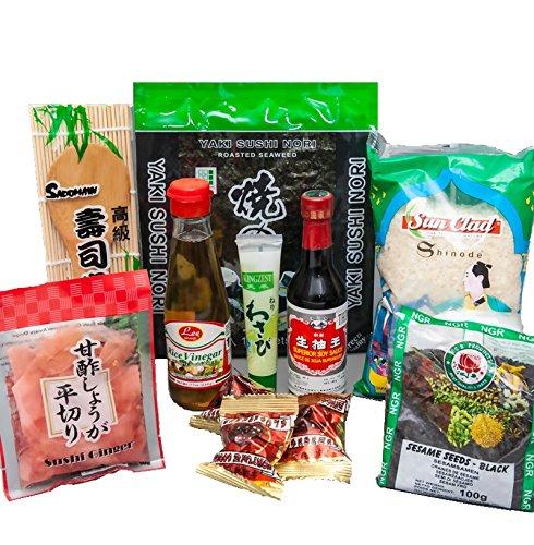 Sushi Starter Set 9 teilig + Gratis Reislöffel Pamai Pai® Wasabi Nori Gari Ingwer Sojasoße