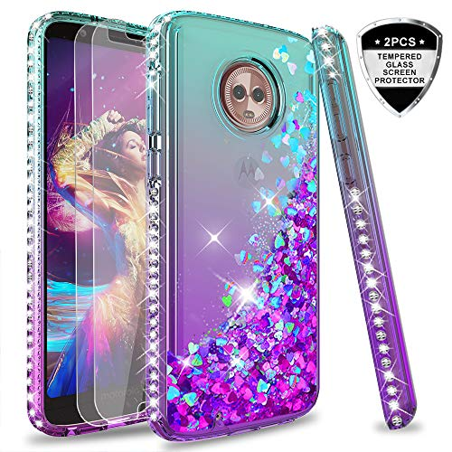 Moto G6 Glitter Case with Tempered Glass Screen Protector [2 Pack] for Girls Women,LeYi Shiny Bling Diamond Liquid Quicksand Clear TPU Protective Phone Case for Motorola Moto G6 (Gradient Teal/Purple)