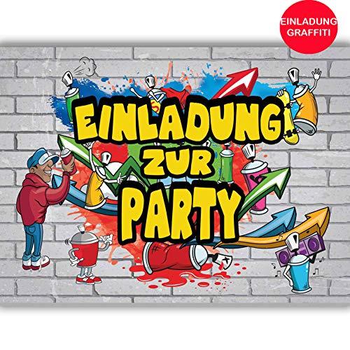 Uitnodigingskaarten graffiti, uitnodiging voor verjaardag, Rap Hip-Hop, kinderverjaardag, themafeest, jumpparty, muziek, tieners, cool, meisjes, jongens, laserdag, verjaardag, dans, game on tablet (niet beschikbaar in het Nederlands)