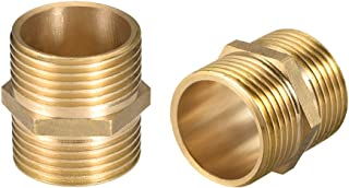 uxcell Brass Male to Male Straight Pipe Hex Nipple Fitting G 1 x G 1 Male Thread Connector 2pcs