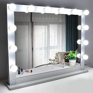 Nitin 女優ミラー 大型化粧鏡 ハリウッドミラー 12個LED電球付き 無段階調光 スタンド付き USB差込口付き 卓上ミラー 女優ライト ドレッサー/化粧台に適用(85*66.5cm)