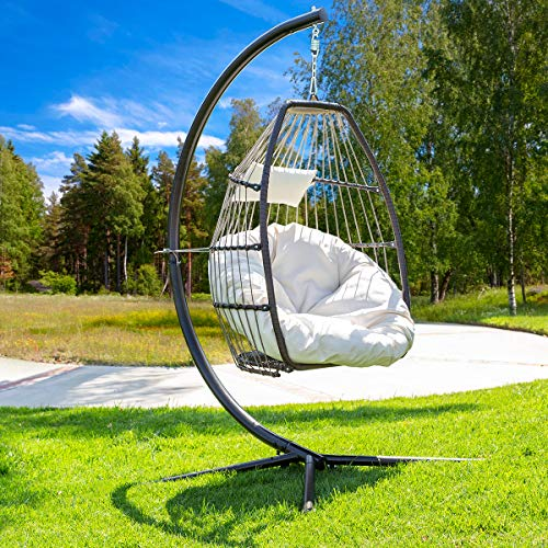 Barton Luxury Wicker Hanging Chair Swing Chair Patio Egg Chair Soft Deep Fluffy Cushion Relaxing Large Basket Porch Lounge, Cream