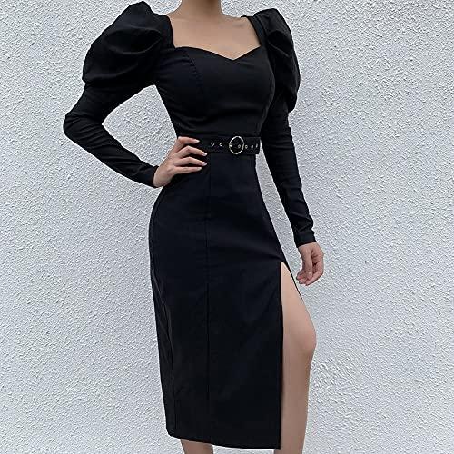Staright As mulheres se vestem com decote em v manga longa puff alta fivela de metal cinto maxi vestido elegante partywear one-piece
