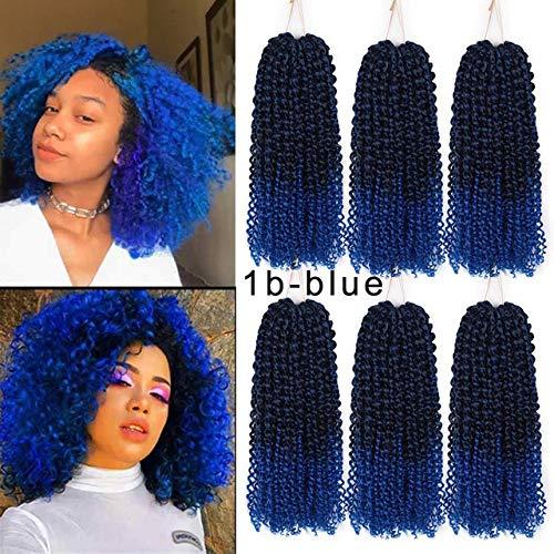 SHIM 8inch 30g Les Cheveux de Marley Crochet Ombre tisse des Extensions de Cheveux synthétiques pour Les Femmes Violet Noir M # Bleu 10pcs