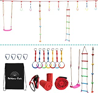 Rainbow Craft Hanging Obstacle Course for Kids - Portable 50' Ninja Slackline Monkey Bar Kit with 10 Hanging Obstacles Including Gym Ring, Climbing Ladder, Climbing Ropes and Swing Seat