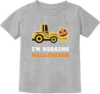 Camiseta infantil I'm Digging Halloween Pumpkin Face Tractor