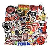 Chileeany Lot de 52 Rétro Vintage Stickers(Rock Band) Valise Autocollants pour Valise Voyage Skateboard Guitare (52PCS)