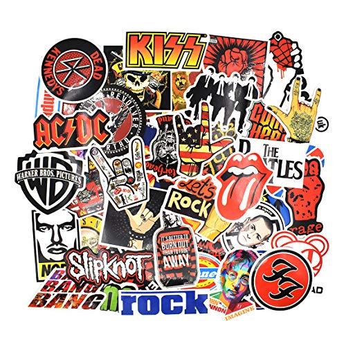 Chileeany Lot de 52 Rétro Vintage Stickers(Rock Band) Valise Autocollants pour Valise Voyage Skateboard Guitare (52PCS)