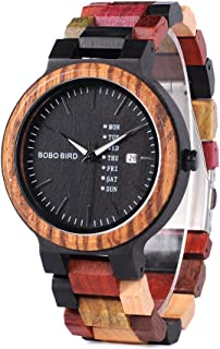 Men's Colorful Wooden Watch, Week & Date Display Quartz Watches Handmade Casual Wood Wrist Watch