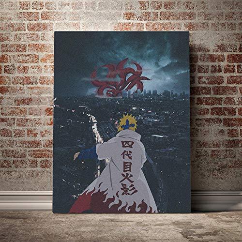 WSHIYI Minato Namikaze Naruto Anime Leinwand Poster Gemälde Wandkunst Dekor Wohnzimmer Schlafzimmer Studie Wohnkultur Drucke 50x70cm (19.7x27.6 Zoll) Kein Rahmen
