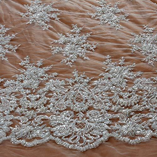 Lace Fabrics 49' Heavy Handmade Beaded Ivory/Gray Wedding Dress by Yard (Ivory)