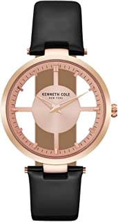 Kenneth Cole Women's Rose Gold Dial Leather Band Watch - KC15004017