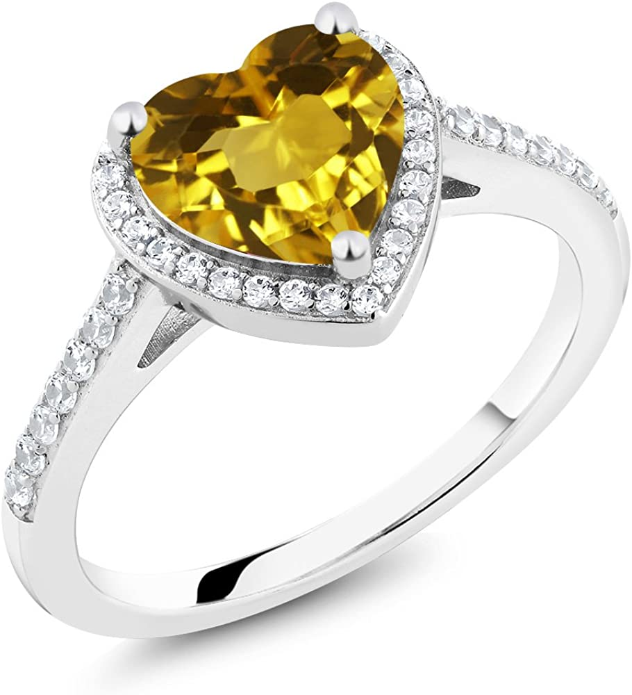 Gem Stone King 925 40% OFF Cheap Sale Sterling Women's Yellow Ring Silver Citrine Inventory cleanup selling sale