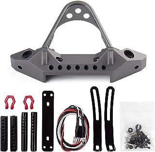 INJORA Front Bumper with Light for Traxxas TRX-4 Axial SCX10 & SCX10 II 90046, SCX10 III AXI03007,Black Metal,1/10 RC Crawler Car Parts (Grey)